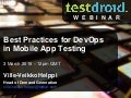 Best Practices for DevOps in Mobile App Testing