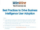 Best Practices to Drive Business Intelligence User Adoption