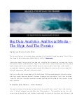 Big data analytics and social media - The Tidal Wave That's Already Here