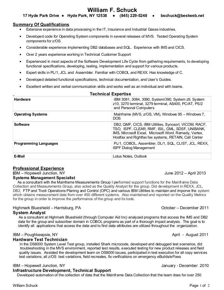 Bill Schuck Mainframe Programmer 2013 Resume