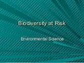 Biodiversity at risk