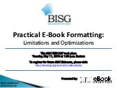 BISG WEBCAST -- Practical E-Book Fo...