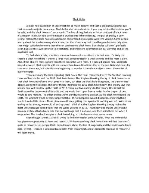 Black hole essay