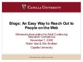 Blogs: An Easy Way to Reach Out to ...