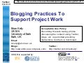 Blogging practices to support project work