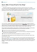 How to Write a Privacy Policy For Your Blog?