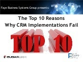 Top 10 Reasons Why CRM Implementations Fail