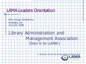 LAMA Board Orientation 2008