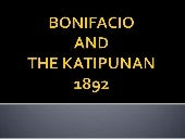 Bonifacio and the katipunan report
