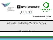 Network Leadership Webinar Series: Boundary Spanning Leadership Integrated with Network Development