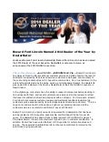 Bozard Ford Lincoln Named 2014 Dealer of the Year by DealerRater
