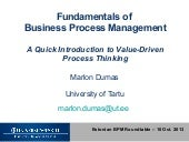 Fundamentals of Business Process Management: A Quick Introduction to Value-Driven Process Thinking