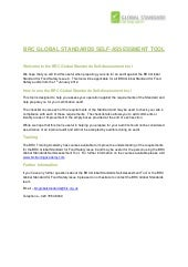 BRC Global Standards Self-Assessmen...