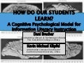 How Do Our Students Learn?: A Cognitive Psychological Model for Information Literacy Instruction