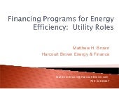 Financing Programs for Energy Efficiency: Utility Roles