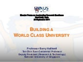 Building a world class university  ...