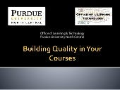 Building Quality into Your Courses