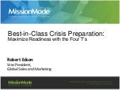 Best-in-Class Crisis Preparation: Maximize Readiness with the Four T's