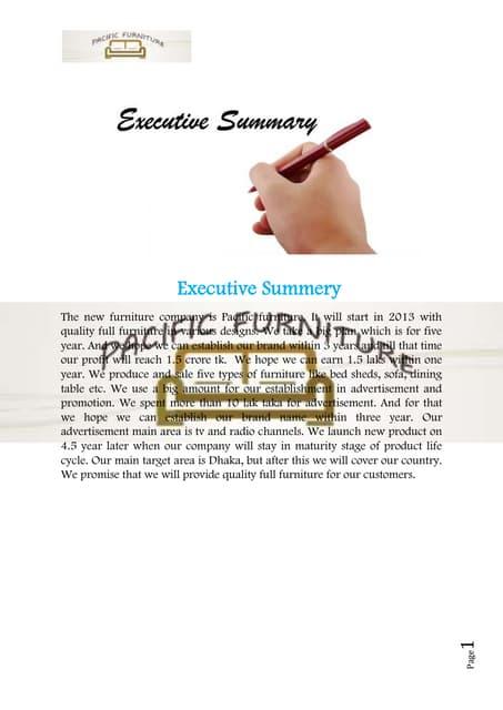 Furniture business plan sample