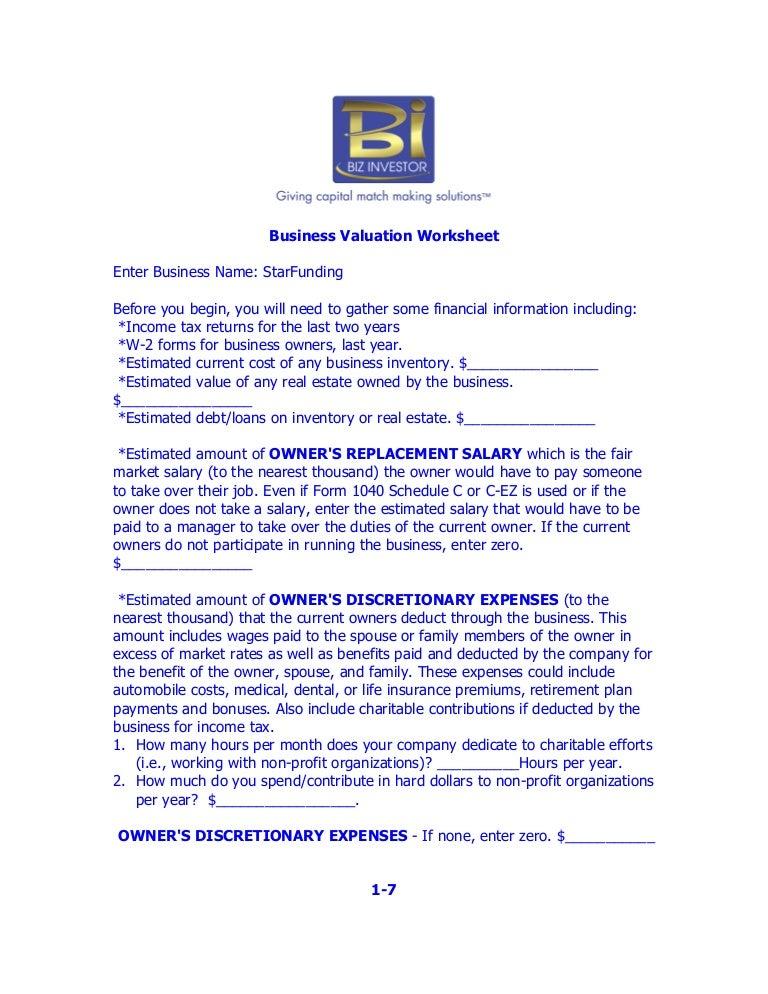 Printables Business Valuation Worksheet business valuation worksheet