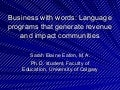 Business with words: Language programs that generate revenue and impact communities