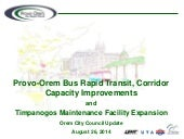 Provo-Orem Bus Rapid Transit, Corridor  Capacity Improvements