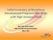 Initial Inventory of Workforce Development Programs that Align with High Demand Fields
