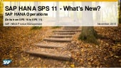 What's New in SAP HANA SPS 11 Operations