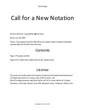 Call for a new notation