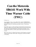 Motorola SB6141 Should Be A Cable Modem Of Choice For Time Warner Cable