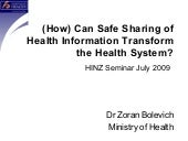 (How) Can Safe Sharing of EHRs Tran...