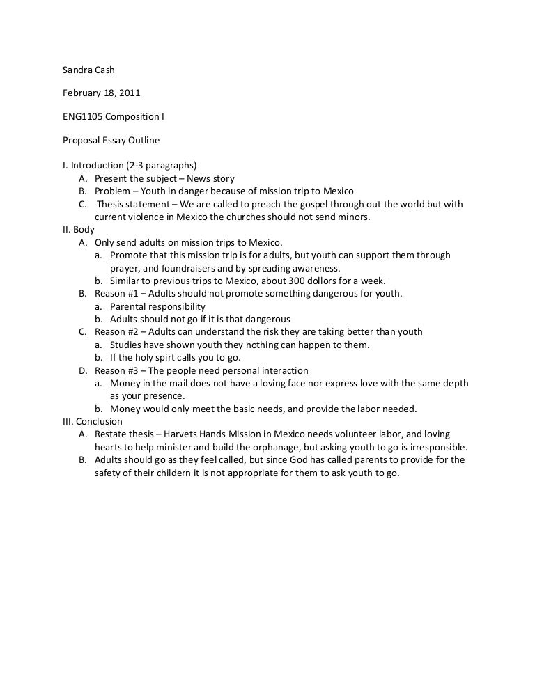 Proposal Essay Outline