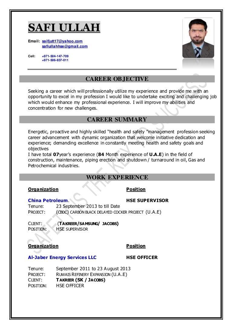 Good SAFETY OFFICER CV Regard To Safety Officer Resume