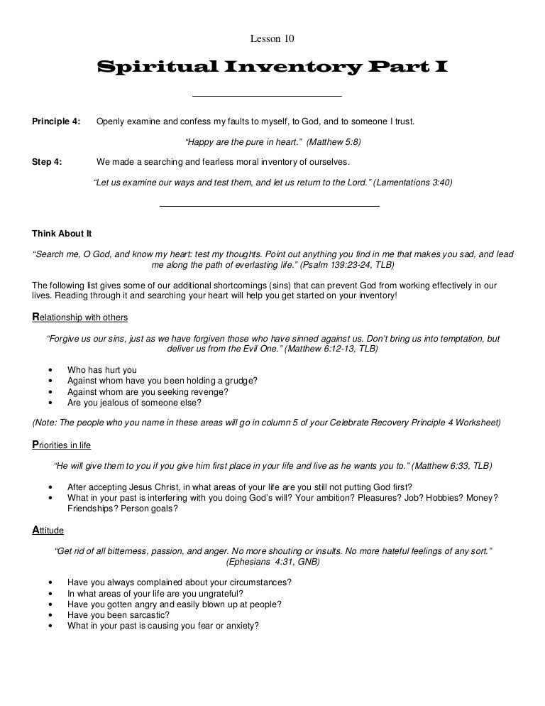 Worksheet Celebrate Recovery Inventory Worksheet celebrate recovery lesson 10 addiction