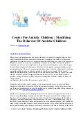 Center for autistic children   modifying the behavior of autistic children
