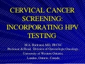 Cervical Cancer Screening - HPV - w...
