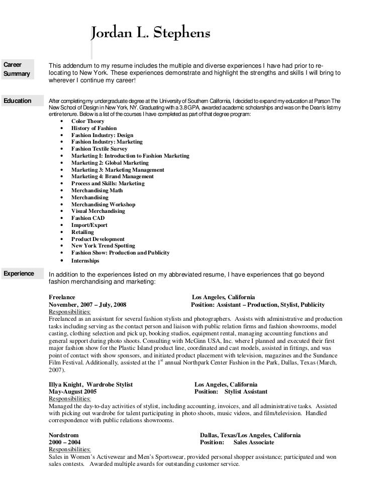 how to write a resume for a job in the fashion industry