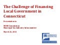 Challenge of Financing Local Government in Connecticut