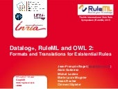 Challenge@RuleML2015  Datalog+, RuleML and OWL 2 - Formats and Translations for Existential Rules