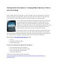 iPad Application Development - Changing Mobile Industry with Some Latest Technology