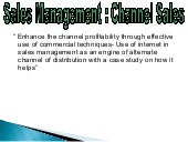 Sales Management : Channel Sales