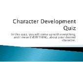 Character Development Quiz