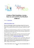 Children with disabilities articles   exercise and activities for disabled children