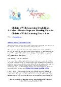 Children with learning disabilities articles   how to improve reading flow in children with learning disabilities