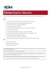 China Media Monitor (Issue 1)