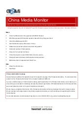 China Media Monitor (Issue 6, June ...