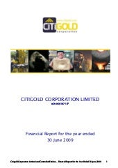 Q3 2009 Earning Report of Citigold ...