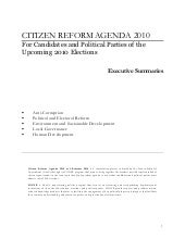 Citizens reform agenda 2010   summary