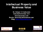 Intellectual Property and Business Value -  A presentation by Dr. Kalyan C. Kankanala at Woxsen School of Business