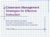 Classroom management strategies for...